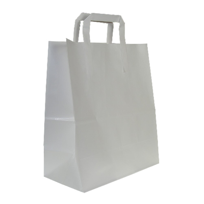 Small Flat Handle Paper Carrier Bags - pcb1 - White