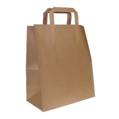 Small Flat Handle Paper Carrier Bags - pcb2 - Kraft