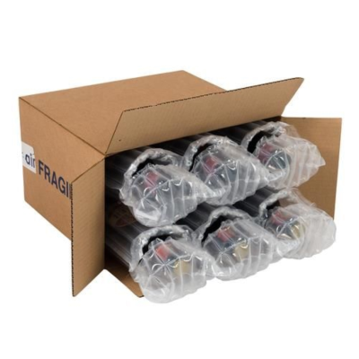 SIX BEER BOTTLE AIRSACS AND BOX