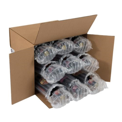 NINE BEER BOTTLE AIRSACS AND BOX